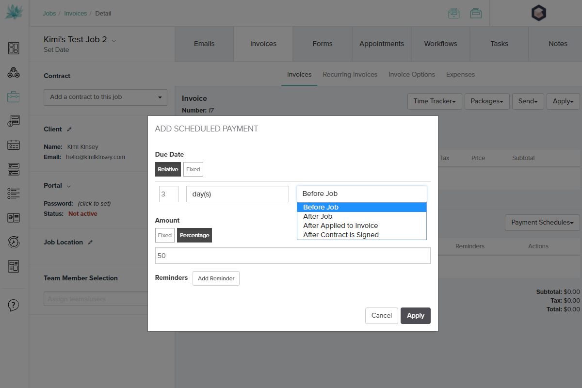 Adding a Payment Schedule in Dubsado