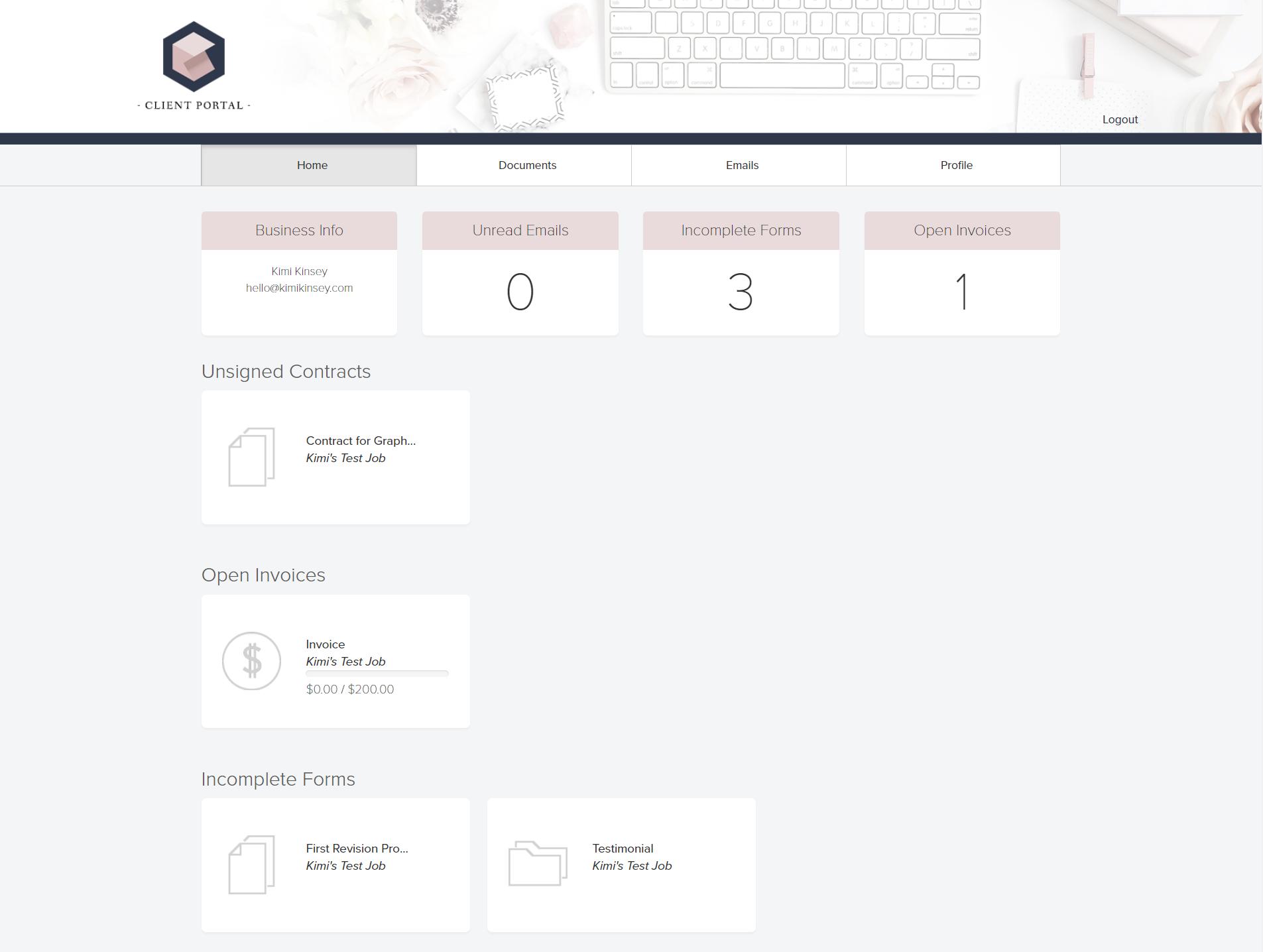 Dubsado Client Portal Example