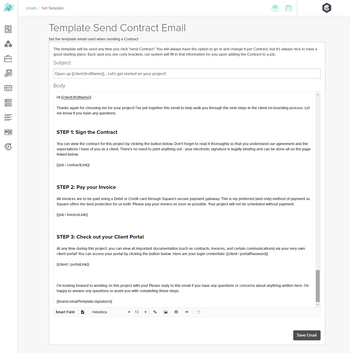Dubsado Email Template for Client Onboarding