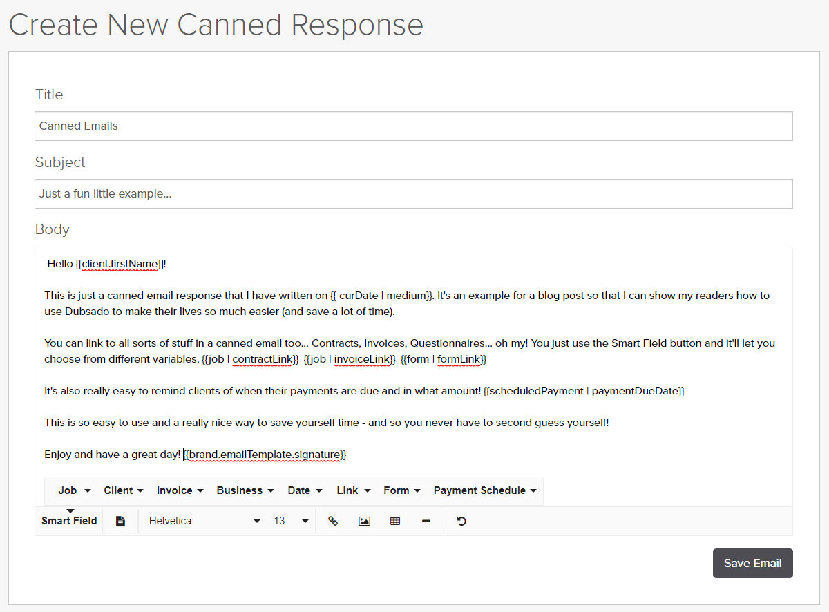 Example Canned Email in Dubsado