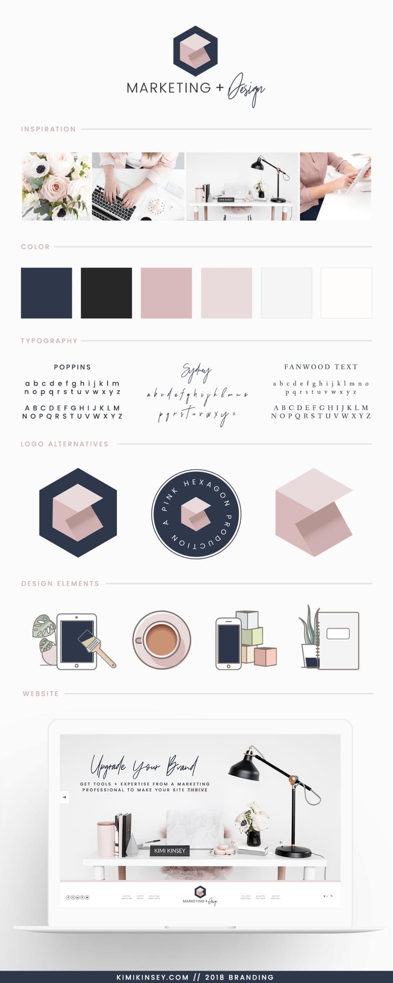 Kimi Kinsey Marketing and Design Brand Board