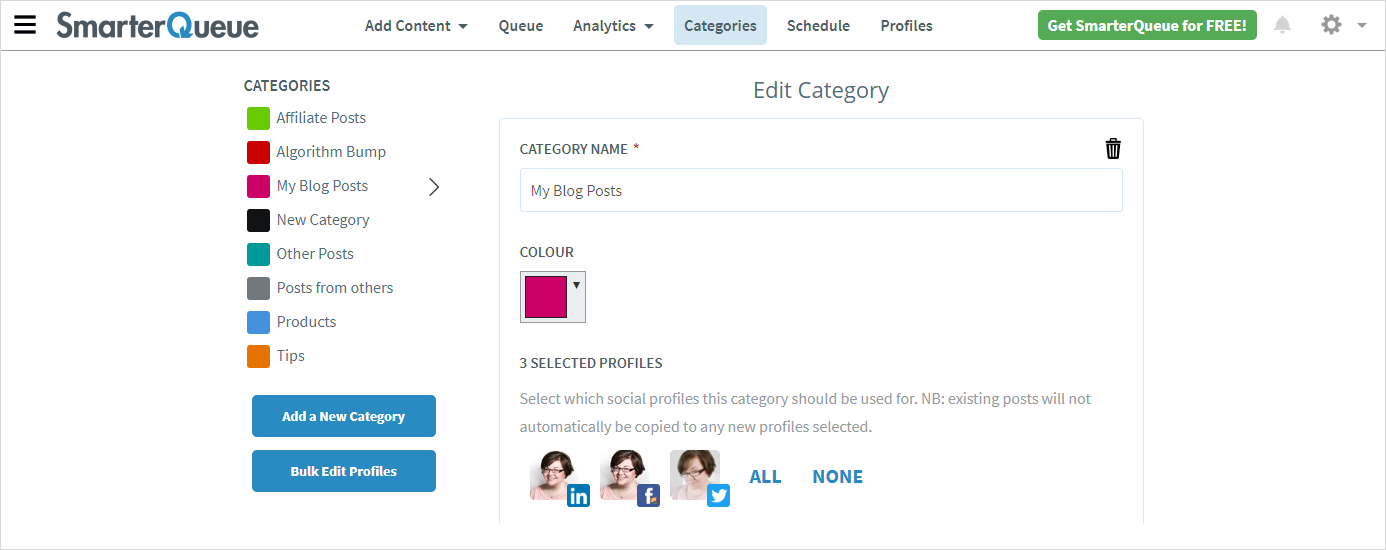 SmarterQueue - Create Posting Categories